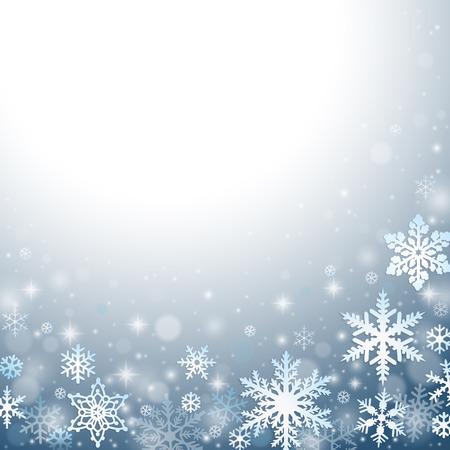 Abstracte blauwe Kerst achtergrond met sneeuwvlokken