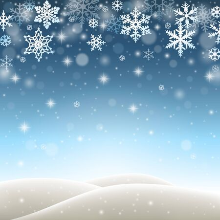 Winter landscape with falling snowflakes, snow and hills