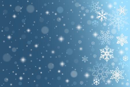 copo de nieve: Fondo azul del invierno con copos de nieve cayendo