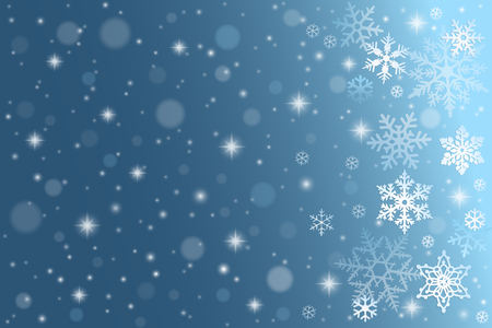 Blue winter background with falling snowflakes Vettoriali