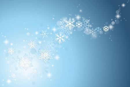swirl background: Christmas winter background with swirl of snowflakes on blue