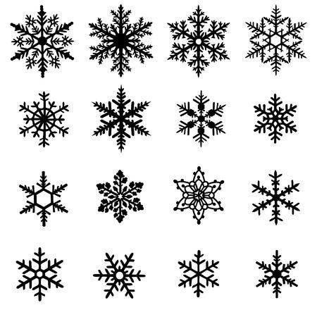 Set van zwarte sneeuwvlokken op een witte achtergrond