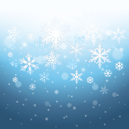Abstract blue winter background with falling snowflakes