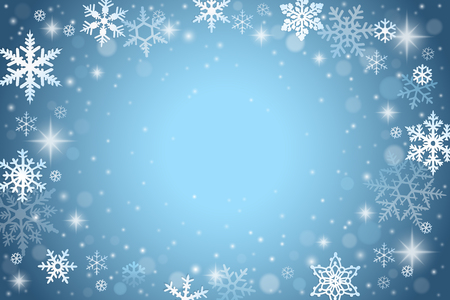 Abstract winter background with falling snowflakes  イラスト・ベクター素材
