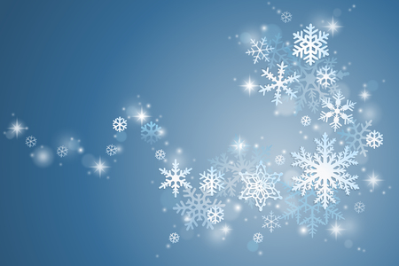 swirl: Winter holiday background with swirl of snowflakes on blue