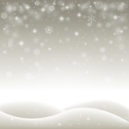 snowdrift: Winter holiday landscape with snowflakes, snow and hills