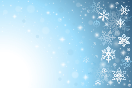 neige qui tombe: Résumé fond bleu avec des flocons de neige de Noël Illustration
