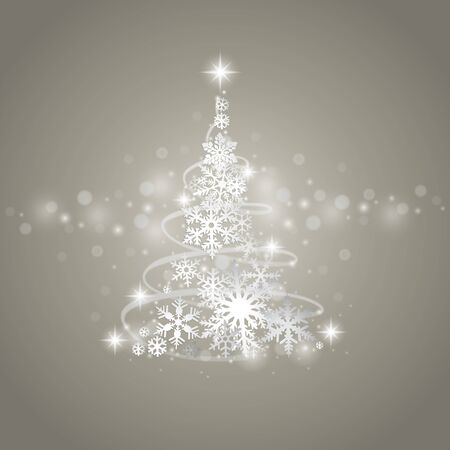winter tree: Abstract grey winter background with Christmas tree and snowflakes Illustration