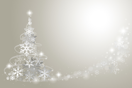 abstract tree: Abstract Christmas tree from snowflakes on grey background