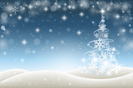 winter tree: Winter background with Christmas tree from snowflakes
