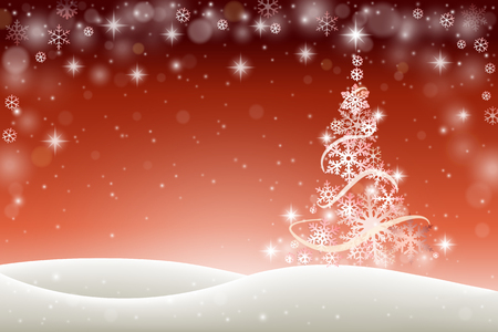 winter tree: Winter holiday background with Christmas tree and snowflakes