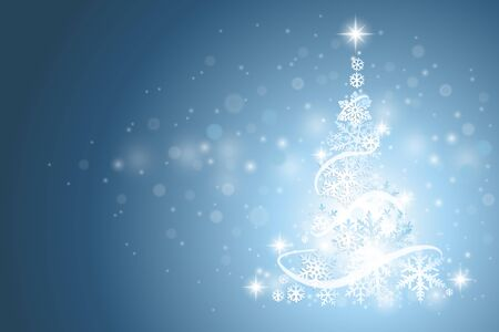 winter background: Abstract blue winter background with Christmas tree and snowflakes Illustration