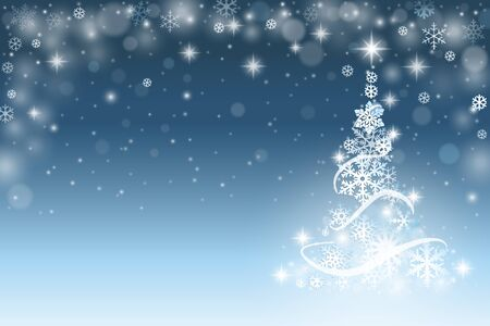 blue star: Christmas tree background with snowflakes Illustration