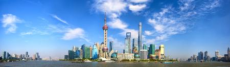 china: Shanghai Pudong skyline panorama, China