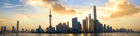 shanghai pudong skyline: Shanghai Pudong skyline panorama at sunrise, China Stock Photo