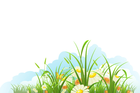 tuft: Spring banner with green grass, flowers and clouds, vector illustration Illustration