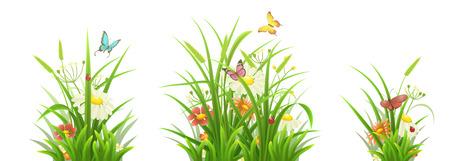 grass flowers: Spring grass, flowers and butterflies,  vector illustration set