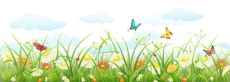 Spring summer banner with green grass, flowers and butterflies