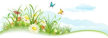 Groene lente zomer banner met gras, bloemen, vlinders en wolken