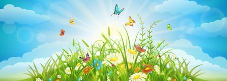 Verano y la primavera de fondo con pradera de césped, flores, mariposas y cielo Ilustración de vector