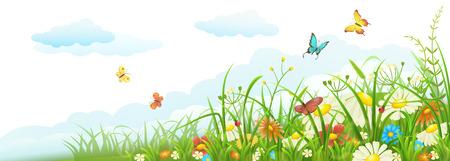 Été pré bannière avec l'herbe verte, des fleurs, des papillons et des nuages