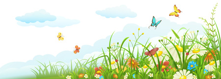 Summer meadow banner with green grass, flowers, butterflies and clouds Çizim