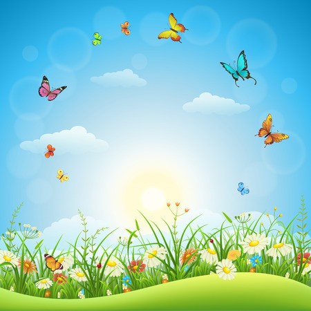Spring or summer landscape with green grass, flowers and butterflies Stock Illustratie