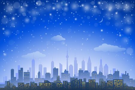 moon  metropolis: Abstract city skyline with urban skyscrapers at night Illustration