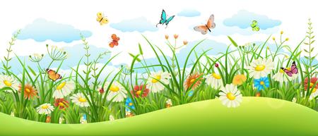 Zomer landschap banner met weide bloemen, gras en vlinders Stock Illustratie