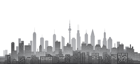 financial district: Black and white city skyline with urban skyscrapers