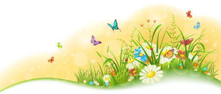 Summer sunny meadow banner with grass, colorful flowers and butterflies