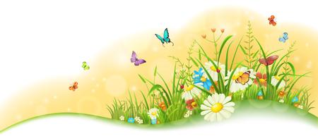Zomer zonnige weide banner met gras, kleurrijke bloemen en vlinders Stock Illustratie