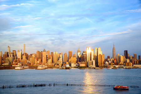 sunset city: Manhattan Midtown skyline at sunset, New York City