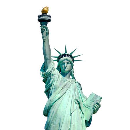 Estatua de la Libertad en Nueva York aislado en blanco Foto de archivo
