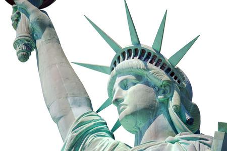 Estatua de la libertad de primer plano en Nueva York aislado en blanco