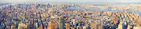 aerial view: New York City Manhattan skyline panorama, aerial view Stock Photo