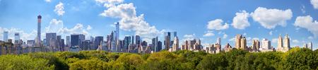 city park skyline: Manhattan skyline panorama with Central Park in New York City
