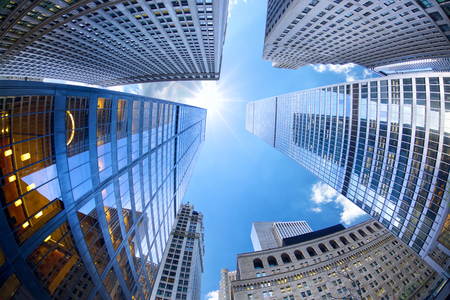 Lower Manhattan skyscrapers looking up, New York City Archivio Fotografico