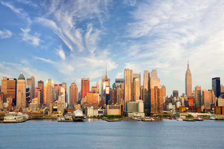 hudson: New York City midtown Manhattan before sunset over Hudson River