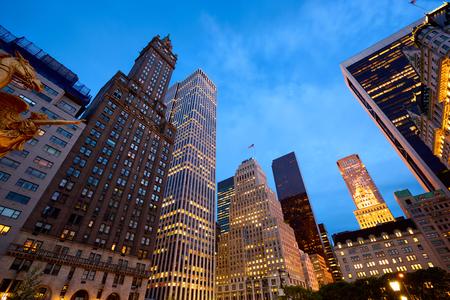 ny: 5th Avenue at dusk, Manhattan, New York City Stock Photo