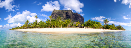 Mauritius Island panorama with Le Morne Brabant mount 写真素材