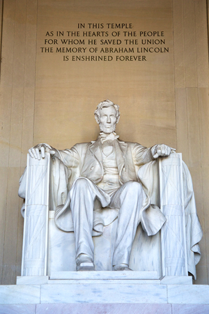 abraham: Statue of Abraham Lincoln at the Lincoln Memorial, Washington DC Stock Photo