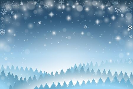 Blue winter background with falling snowflakes and pine trees