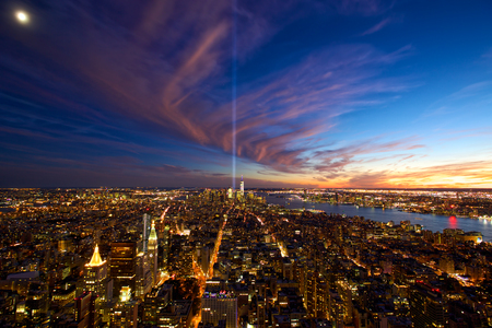 Aerial view of Manhattan New York City at dusk Stock Photo