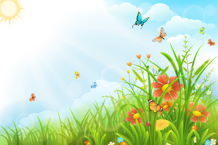 Beautiful summer background with green grass, flowers and butterflies Stock Illustratie