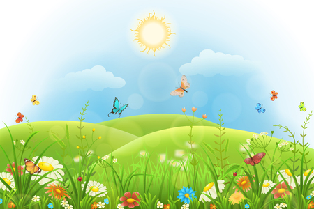Summer background with green grass, flowers, butterflies, hills and sun Illustration