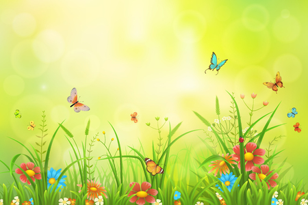 Summer or spring meadow background with grass, flowers and butterflies
