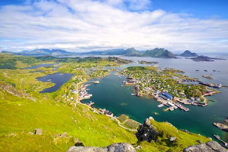Fishing village Ballstad from above, Lofoten Islands, Norway Stock Photo