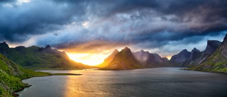 Sunset time in Lofoten Islands, Norway Stock Photo