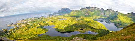 Aerial view panorama of Lofoten Islands, Norway